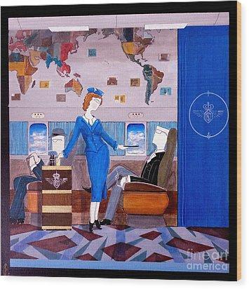 Constellation Businessman Served Martini By Sexy Stewardess Wood Print by John Lyes