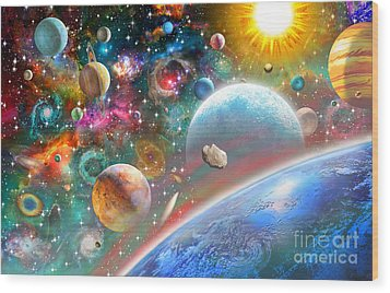 Constellations And Planets Wood Print by Adrian Chesterman