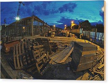 Construction Site At Night Wood Print by Jaroslaw Grudzinski