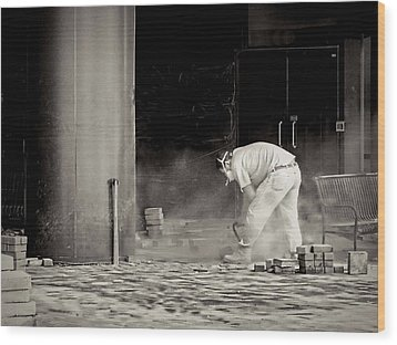 Construction Worker Bw Wood Print by Rudy Umans