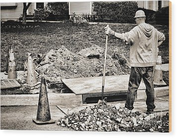 Construction Worker Wood Print by Olivier Le Queinec