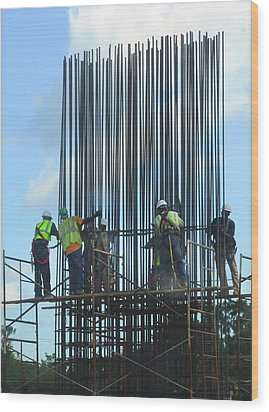 Construction4 Wood Print by Leon Hollins III