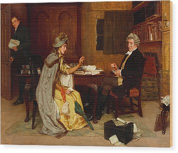 Consulting Her Lawyer Wood Print by Frank  Dadd
