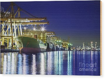 Container Cargo Freight Ship Wood Print by Anek Suwannaphoom