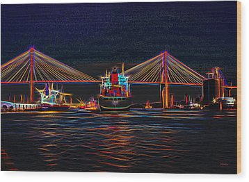 Container Ship Arriving At Savannah Wood Print