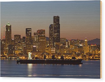 Container Ship On Puget Sound Along Seattle Skyline Wood Print by JPLDesigns
