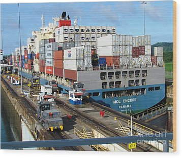 Container Ship Wood Print by Ted Pollard