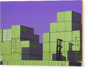 Containers 18 Wood Print by Laurie Tsemak