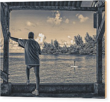 Contemplating Hanalei Wood Print by Robert FERD Frank