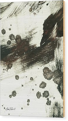 Contemplation In Black And White Abstract Art Wood Print by Ann Powell