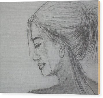 Wood Print featuring the drawing Contemplation by Jane  See