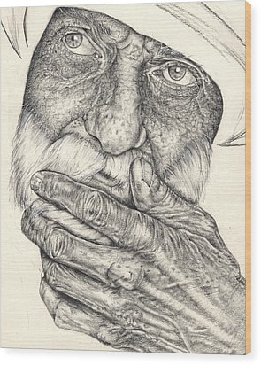 Wood Print featuring the drawing Contemplation by Penny Collins