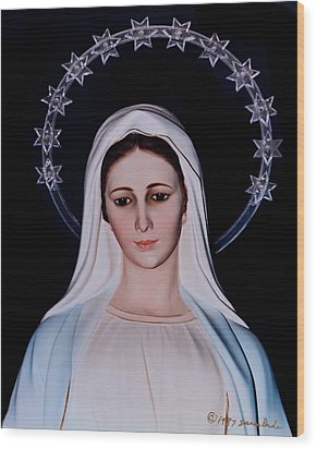 Contemplative Our Lady Queen Of Peace  Wood Print
