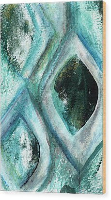 Contemporary Abstract- Teal Drops Wood Print by Linda Woods