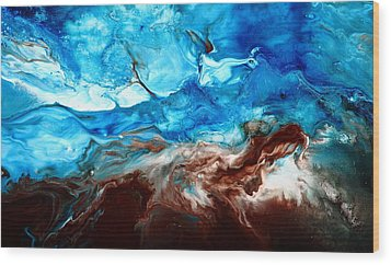 Contemporary Blue Abstract Art Fluid Painting-rapid By Kredart Wood Print by Serg Wiaderny