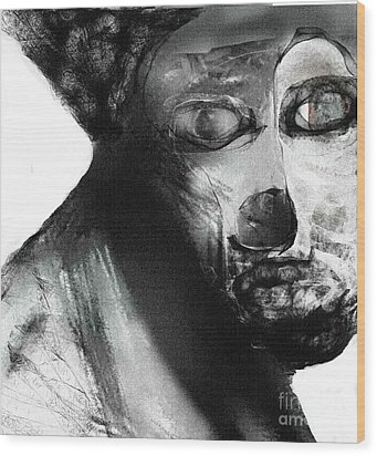 Contemporary Clown Wood Print by Rc Rcd