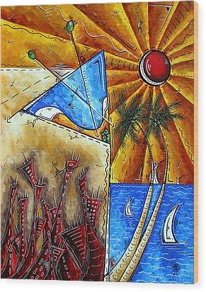 Contemporary Coastal Nautical Tropical Martin Art Original Sailboat Painting Ocean View By Madart Wood Print by Megan Duncanson