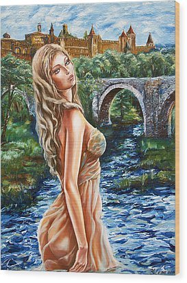 Contessa De Carcassonne Wood Print by Yelena Rubin