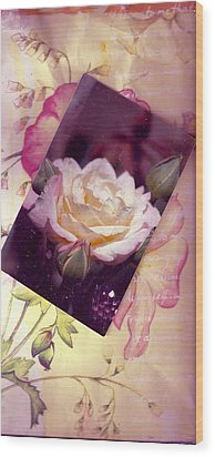 Continuation From Print To Photo Of White Rose Wood Print by Anne-Elizabeth Whiteway