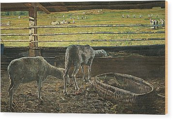 Contrast Of Light Wood Print by Giovanni Segantini