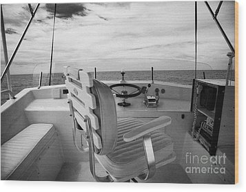 Controls On The Flybridge Deck Of A Charter Fishing Boat In The Gulf Of Mexico Out Of Key West Wood Print by Joe Fox