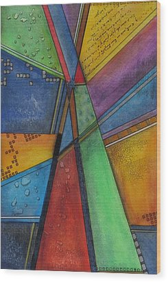 Wood Print featuring the painting Convergence by Nicole Nadeau