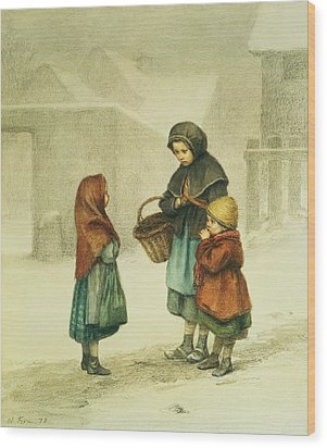 Conversation In The Snow Wood Print by Pierre Edouard Frere
