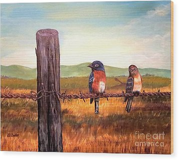 Conversation With A Fencepost Wood Print by Kimberlee Baxter