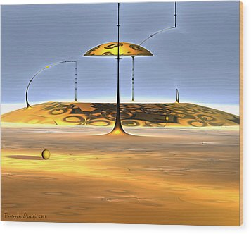Conversations With Dali In The Mound. 2013 80/64 Cm. Wood Print by Tautvydas Davainis