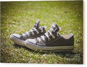 Converse Pumps Wood Print by Jane Rix