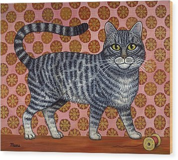 Cookie Cat Wood Print by Linda Mears