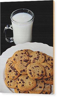Cookies - Milk - Chocolate Chip - Baker Wood Print by Andee Design