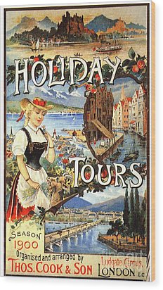 Cook�s 1890s Uk Holidays Holiday Wood Print by The Advertising Archives