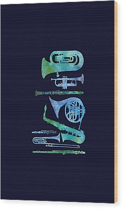 Cool Blue Band Wood Print