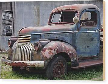 Wood Print featuring the photograph Cool Blue Chevy by Steven Bateson