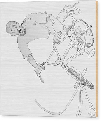 Cool Bmx Drawing Wood Print by Mike Jory