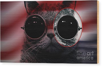 Cool Cat Painting Wood Print