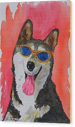 Cool Husky 3 Wood Print by Warren Thompson