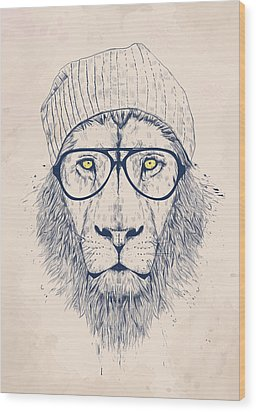 Cool Lion Wood Print by Balazs Solti
