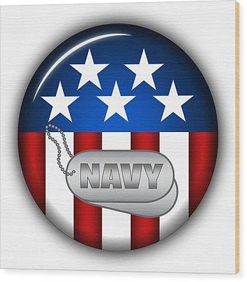 Cool Navy Insignia Wood Print by Pamela Johnson