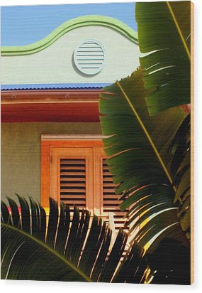 Cool Tropics Wood Print by Karen Wiles