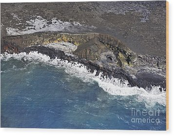 Cooled Lava Fields By Pacific Ocean Wood Print by Sami Sarkis