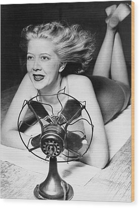 Cooling Fan For Hot Spell Wood Print by Joe Denarie