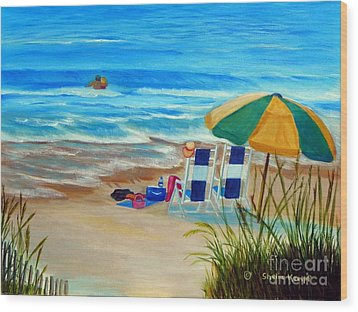 Wood Print featuring the painting Cooling Off by Shelia Kempf