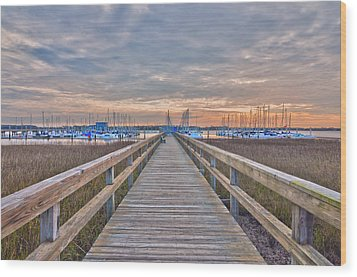 Cooper River Marina Wood Print by Donnie Smith