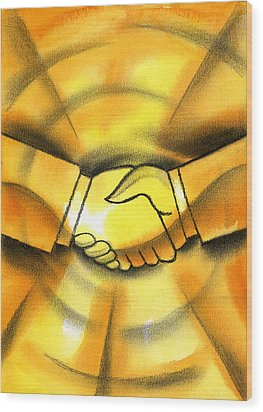 Cooperation Wood Print by Leon Zernitsky