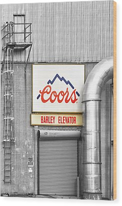 Coors Barley Elevator Bw Color Wood Print by James BO  Insogna