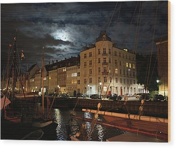 Copenhagen At Night Wood Print