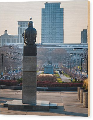 Copernicus Watches Over Chicago Wood Print by Cliff C Morris Jr