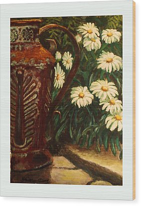 Copper And Daisies Wood Print by Harriett Masterson